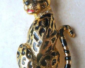 Vintage Enamel And Rhinestone Collared Leopard Brooch