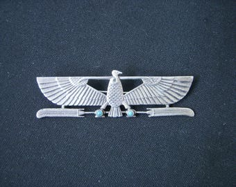 Art deco egyptian revival brooch silver wings Egypt