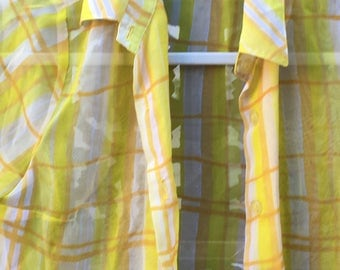 Super 90s Vintage yellow checkered sheer top
