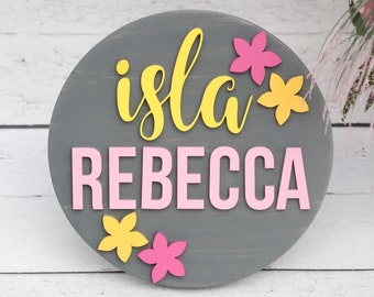 Baby Girl Nursery Decor, Round Frame Wood Sign, Baby Girl Nursery Wall Art, Circle Frame Name Sign, Wood Cutouts, Personalized Nursery Sign