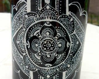 black and white mandala mug