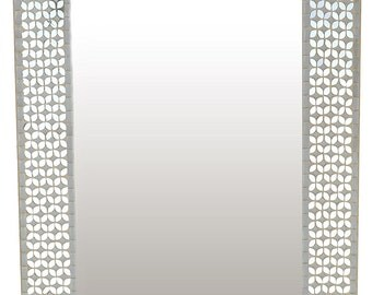 """Frosty Silver Rectangle Mosaic Wall Mirror  31"""" x 23.50"""" [LP306]"""