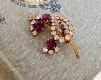 Beautiful Vintage Brooch Austrian Crystal Austrian Jewellery Purple