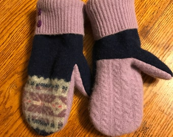 Soft and warm handmade wool sweater mittens -felted wool -upcycled - handmade from recycled wool sweaters