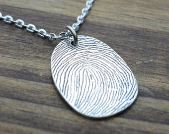 Thumb Print Identity Pendant in Sterling Silver