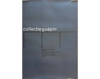 Rare Vintage Art Swiss Museum Poster, Gray and Black 1960s Mid Century Modern Typography Frameable Wall Art