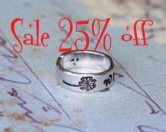 Sale 25% off - Dandelion Wish Aluminium Adjustable Aluminium Ring - Hand Stamped