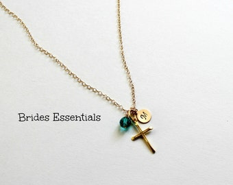 Cross and Initials Chain, Birthstone Crystals, Baptism Necklace, Sterling Silver Necklace, First Holy Communion Necklace, Religious Jewelry