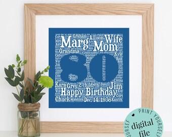 Personalised 80TH BIRTHDAY GIFT - Printable Art - Word Art - 80th Birthday Gift - Unique Birthday Gift - 80th Birthday - Birthday Gift Ideas