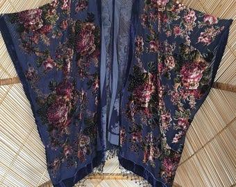 Kimono jacket,velvet fringe jacket,burnout jacket,plus size,wearable art,festival kimono,floral kimono,shawl jacket,devore kimono