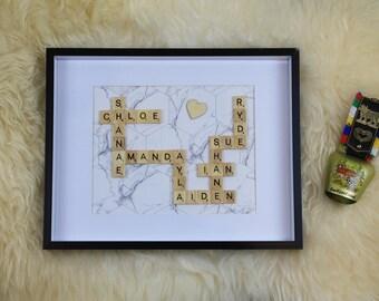 Custom Scrabble Frame - Marble