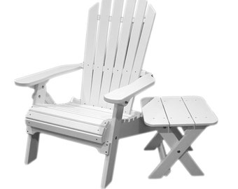 All-Weather Adirondack Folding Chair with Side Table - Bright White