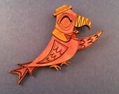 Wooden Barker Bird Litewood Brooch
