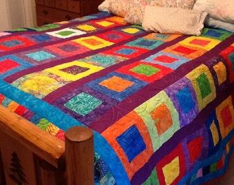 Bright Batik Quilt Full/Queen size 70x92 Square in a square