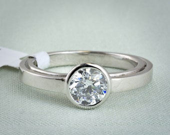 Balance : Lab Grown Diamond Solitaire Engagement Ring in 14k Recycled White Gold 1.02ct