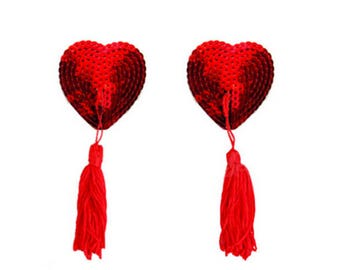 Red Heart Sequin Pasties with Spinning Tassels