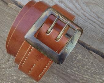 The Garrison Double Prong Belt Brass