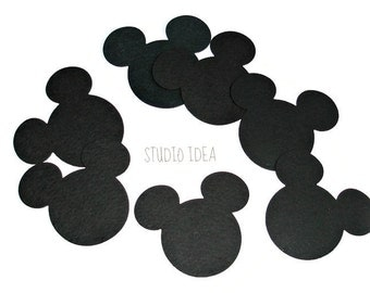 """3"""" Black Mickey Head Cut outs - Minnie Head Cut outs -Black Cut outs or Choose Your Colors-Set of 30pcs, 60pcs"""