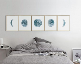 Moon Phases Prints, Set of 5 watercolor Lunar Phases Moon art Print, Watercolor Prints Home Decor