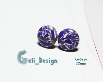 Earrings cabochon purple white marbled