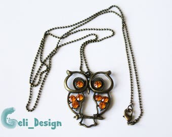 Bronze necklace rhinestones OWL orange