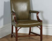 Antique Georgian Gainsborough Style Mahogany   Green Leather Office Desk Armchair (Circa 1920)