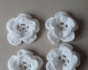 set of 4 crochet flowers, crochet flowers, appliques, craft supplies, sewing supplies, ready to ship