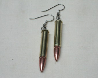 Bullet Earrings 22 Magnum Brass with earring rubber backs, Ladies Bullet Jewelry