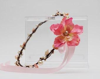 Seashell Flower Crown - Seashells and pearls - beach wedding, bride, bridesmaid, flower girl