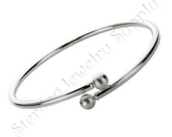 Sterling Silver Twist Bangle Bracelet with Ball Ends, 925 Sterling, Wholesale Bracelet Supply, USA Seller, Fast Shipping (B111)