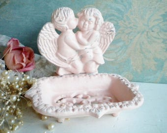 Shabby Pink Soap Dish/ Shabby Chippy Jewlery Holder/Repurposed,Hand Painted Metal/Home Decor/Bathroom/Girls Room/Office Decor