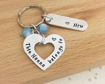 personalised gift - nana gift - nanna gift - personalised keyring - personalised names - birthday gift - mum - hand stamped - belongs to, UK
