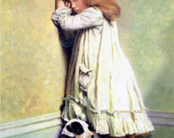 In disgrace- Charles Burton Barber hand-painted oil painting reproduction girl with dog for child room decor or child gift
