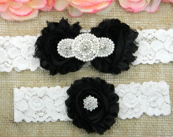 Black Wedding Garter Set Lace Bridal Keepsake