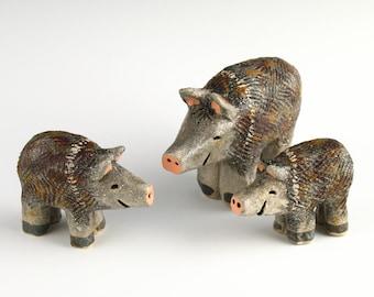 Javelina Family, Set of 3 Clay Javelini, Handmade Ceramics by Southwest Artist, Karlene Voepel