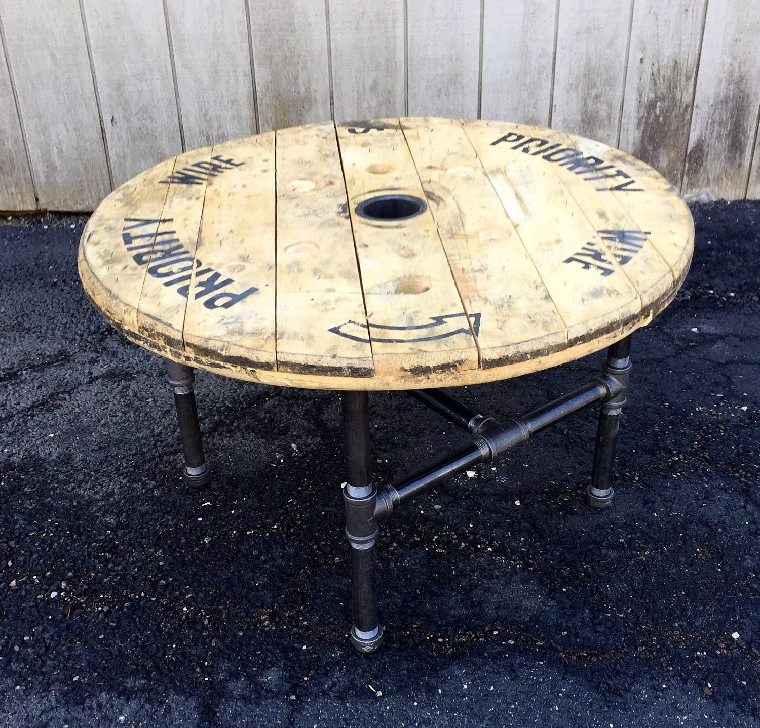 Reclaimed Wood Spool Coffee Table Industrial Salvage rustic