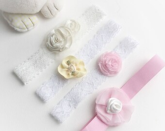 Baby headband, wedding girl hair accessories, Christening headband, baby shower gift, baby girl gift for photoshoot