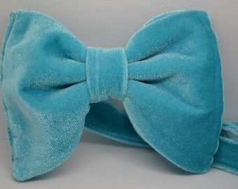 1970s inspired bow tie, Men's bow tie, Turquoise Velvet bow tie, Gift for men, Wedding, Turquoise bow tie, Drop bow tie