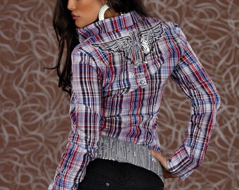 checkered Plaid Blouse Boho Chic Streetstyle 10 12