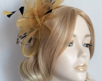 LEOPARD PRINT and GOLD Crin Fascinator, With feathers, on Matching headband