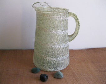 Vintage Color Craft Spaghetti String Glass Pitcher - Green Rubberized Wrap With White Spaghetti String - Mid Century...Reshopgoods