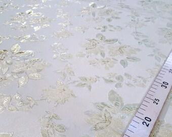 Cream flower jacquard fabric #10x