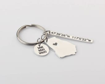 Map keychain etsy i heart georgia state map keychain roman numeral disc key ring personalized latitude longitude sciox Images
