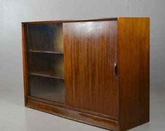 Retro Herbert Gibbs Teak Glazed Bookcase Cabinet Cupboard