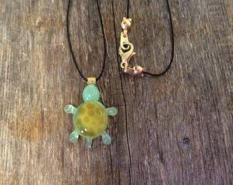 Handmade turtle bead necklace, animal bead, silk necklace, glass turtle necklace