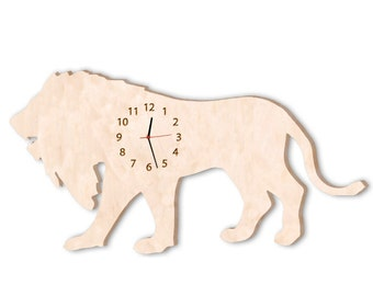 Lion Clock, Kids wooden Wall Clock, Room Decor Original Gift, Modern wall clock, Wall Clock