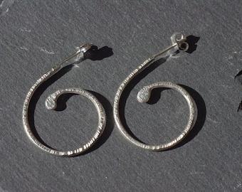 Silver Spiral Hoops, Sterling Silver Hoops Silver Hoop Earrings High Shine Hoops Textured Scroll Earrings Spiral Hoop Earrings