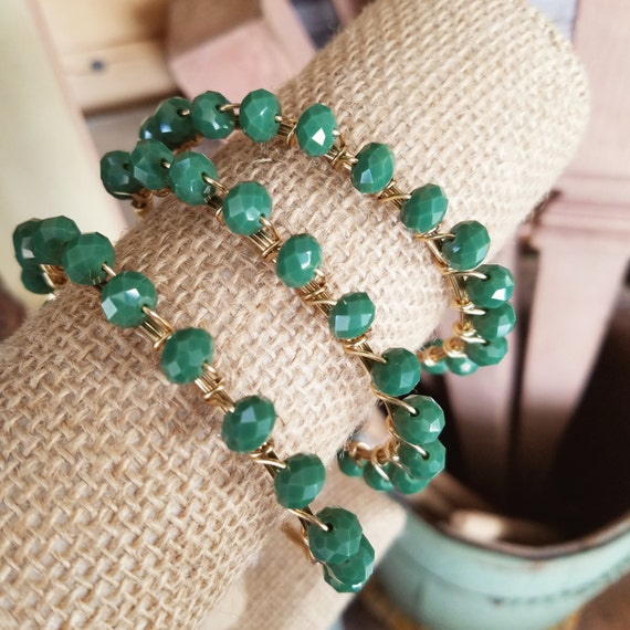 Green Crystal Bangle, Green Beaded Bangle, Beaded Bangles, Crystal Bangles, StackStone Bangles, Bangle Stacks, Green Jewelry, Green