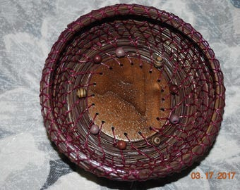 "Pine Needle Basket ""Raspberry Walnut Swirl"""