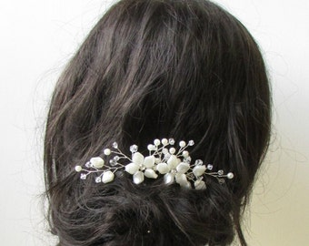 Ivory Silver Vine Flower Hair Comb Bridal Bridesmaid Wedding Floral Pearl 1391